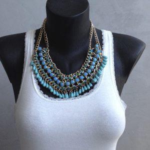 collier boheme perle bleue