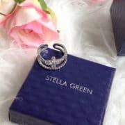 bague stella green metal fleur