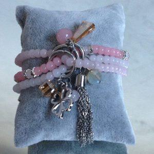 bracelet breloque trefle et cristal