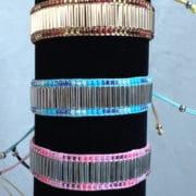 perles de rocaille bracelet bleu et rose