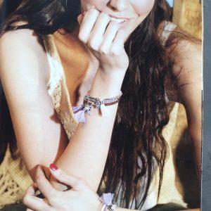 bracelet elastique pompon et cristal